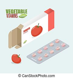 Tomatoes vitamins. Vegetarian pills. Diet tablets in pack. Natural products for health in form of tomato. medicament vegetable. Medical drugs