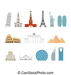 Landmark travel set. Architectural monuments. Known state of building. Eiffel Tower, and Moscow Kremlin. Leaning Tower and Statue of Liberty in USA. Egyptian pyramids and Roman Colosseum. mosque Abu Dhabi and Brandenburg Gate in Berlin. Berne Cathedral to Switzerland and Church Of St. Alexander Nevsky in Bulgaria