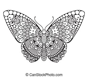 Butterfly. Vintage decorative elements in ethnic style