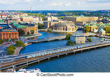 Panorama of Stockholm, Sweden - Aerial panorama of...