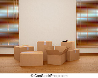 Lots of cardboard boxes. Moving to a new home. 3d...