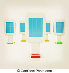 Vertical glossy billboards. 3d illustration on white...