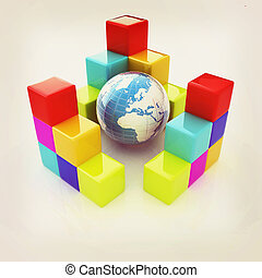 colorful block diagram Global concept 3D illustration...