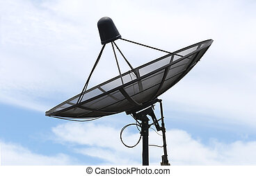 Satellite dish and Clouds on the Blue sky. - Satellite dish...