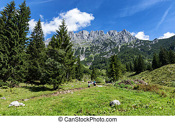 Hiking in the Alps on a sunny day