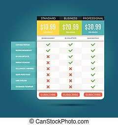 Vector pricing business plans for websites and applications....