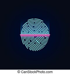 Fingerprint electronic scanning identification system vector illustration