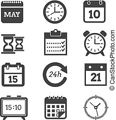 Time, schedule vector icons set