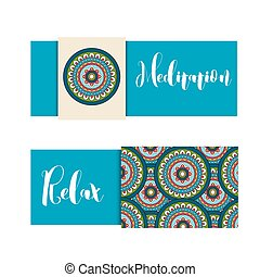 Horizontal banner with mandala ornament - Horizontal banner...