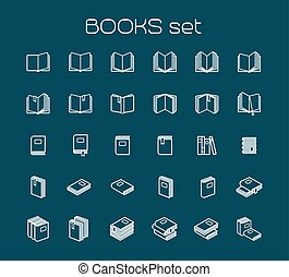 Line art books set White books icons on blue bckground...