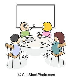 Business people of cute cartoon figures sitting at a table