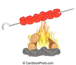 Shish kebab on campfires - Shish kebab prepared on campfires...