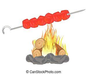 Shish kebab on campfires - Shish kebab prepared on campfires...