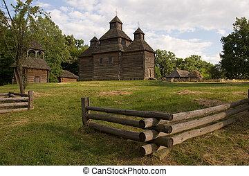 Wooden church in the park, Kiev, Ukraine Pirogovo