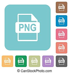 Flat PNG file format icons on rounded square color...