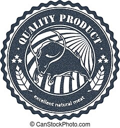 Logo cattle farm in a grunge style on white background. Black bull on a circular badge. Stock vector illustration.