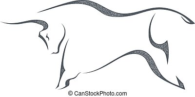 The black silhouette of a bull jumping on a white background. Stock vector illustration.