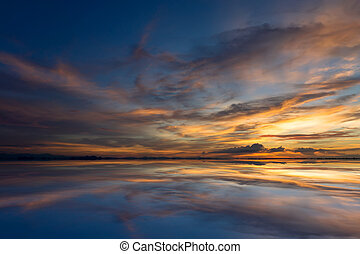 Twilight sky after sunset over the lake. - Mirror the...
