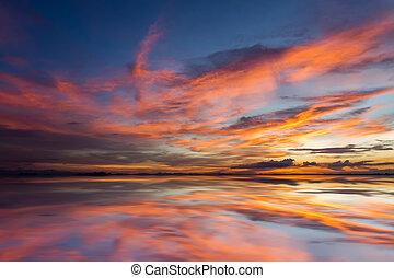 Twilight sky after sunset over the lake. Idea: Un-focus...