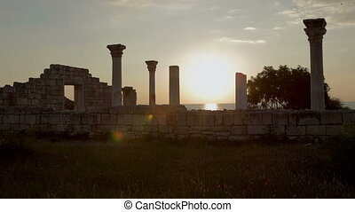 Ancient Greek basilica and marble columns in Chersonesus...