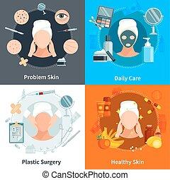 Skin Care Flat 2x2 Design Concept - Skin care 2x2 flat...