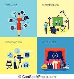 Filmmaking Concept 4 Icons Square - Filmmaking concept 4...