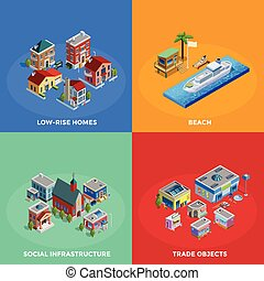 Isometric City 2x2 Icons Set - Isometric city 2x2 icons set...