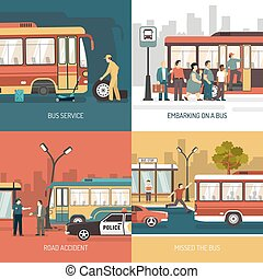 Bus Stop 4 Flat Icons Square - City transport service bus...