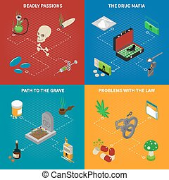 Drugs Addiction Concept Icons Set - Drugs addiction concept...