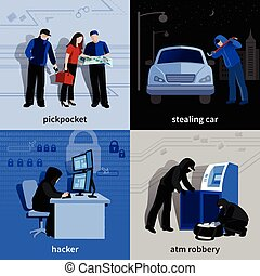 Burglar 2x2 Icons Set - Various burglars and criminals...