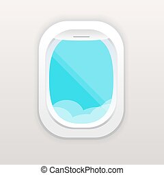 Aircraft window with cloudy blue sky outside