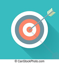 Aiming concept, the arrow in bulls eye, colorful vector flat...