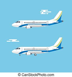 Aircraft with wide wings is flying in blue cloudy sky