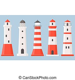 Vector light house icons collection