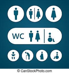 Baño, macho, señal, hembra, embarazada