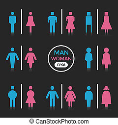 Man and Woman color sign