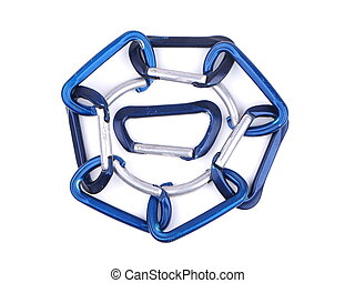 blue climbing carabiners on a white background