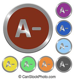 Color decrease font size buttons - Set of color glossy...