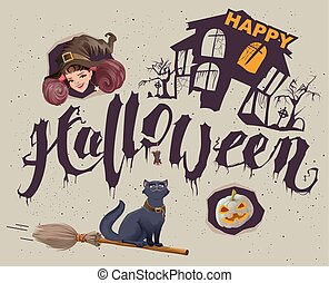 Happy Halloween Set of accessories for greeting card...