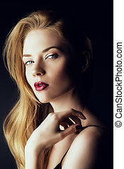 maroon lipstick - Portrait of a gorgeous blonde woman with...