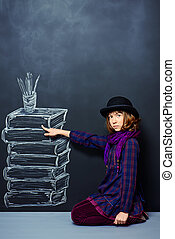 educational concept - Educational concept Teen girl standing...