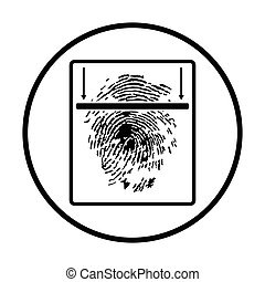 Fingerprint scan icon Thin circle design Vector illustration...