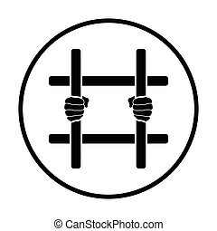 Hands holding prison bars icon Thin circle design Vector...