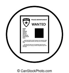 Wanted poster icon. Thin circle design. Vector illustration.