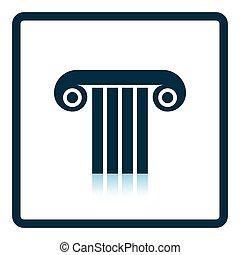 Antique column icon. Shadow reflection design. Vector...