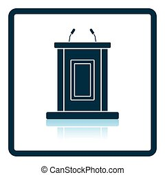 Witness stand icon Shadow reflection design Vector...