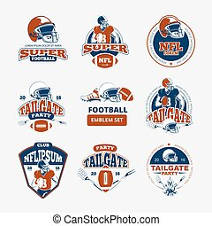 American football, rugby vector color emblems set. Label...