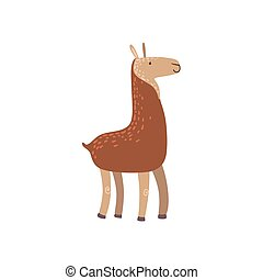 Brown Llama Standing Stylized Cute Childish Flat Vector...