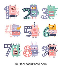 Stylized Funky Animals Standing Next To Digits Sticker Set -...