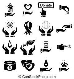 Charity icons set, simple style - Simple charity icons set...
